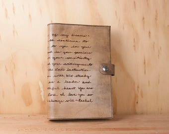 Custom Handwriting Journal - Personalized Gift for Him or Her with Your Actual Handwriting - Antique Black - Third Anniversary Gift