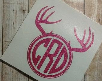 Deer Antler Decal/Deer Antler Monogram/ Monogram/Decal/ Vinyl Decal/ Deer Monogram/Hunting Sticker/Yeti Cup Decal/Deer Antler Sticker