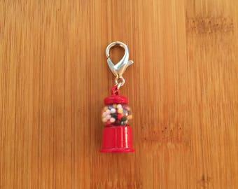 Gumball machine zipper charm, zipper pull, key chain