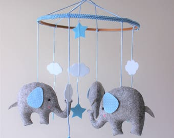 Elephant mobile, unisex mobile, baby mobile, nursery mobile, cloud star mobile, baby shower gift, baby crib mobile, elephant baby mobile