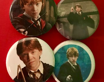 4pc Button set with Ron Weasley from Harry Potter