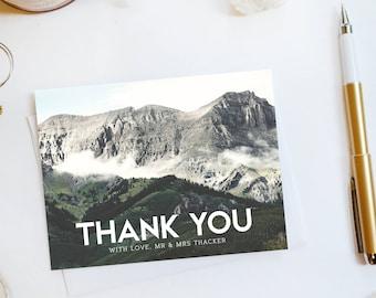 Wedding Thank You Card Custom Wedding Thank You Cards Mountain Wedding Thank You Cards Mountain Thank You Cards Telly1