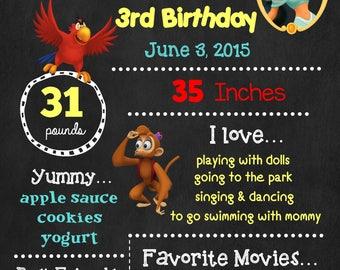 Aladdin Birthday Chalkboard Poster - Disney Princess Jasmine Wall Art design - Birthday Poster Sign - Any Age