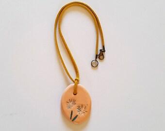 Pendant ceramic necklace, flower, gift for MOM, gift for daughter, ceramic necklace Locket pendant necklace