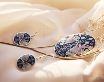 Beautiful Butterfly Ring with Earrings,Ring size is 8-Handmade Enamel Cloisonne,Fine Silver,Gift,Rings