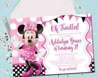 MINNIE MOUSE INVITATION, Minnie Mouse Birthday Invitation, Birthday Invite, Minnie Mouse, Pink, Oh Twodles, 2nd Birthday, Printable