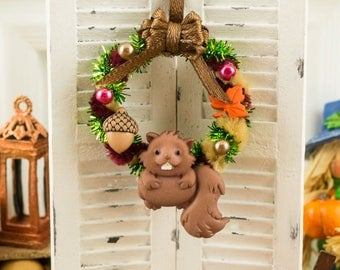 Woodlands Autumn Wreath - 1:12 Dollhouse Miniature