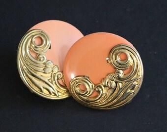 Vintage New Circular Peach Clip-On Earrings w/Gold Tone Ornate On Half