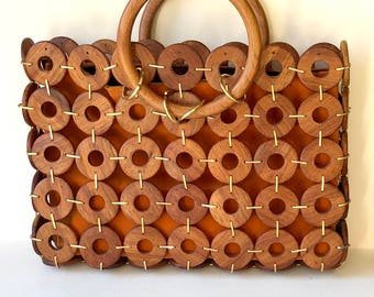 Mid Century Wooden Circle Purse | Mod 1960s Handbag | Circle Design with Top Handles and Locking Rings | Groovy Wood Purse | Vintage Bag