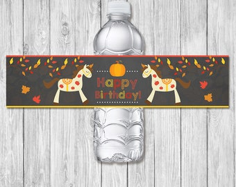 Autumn / Fall Birthday Horse Pony Drink Label - Chalkboard - Fall Pony Ride Party Water Bottle Wrap -  Horse Party Favor - Horse Birthday