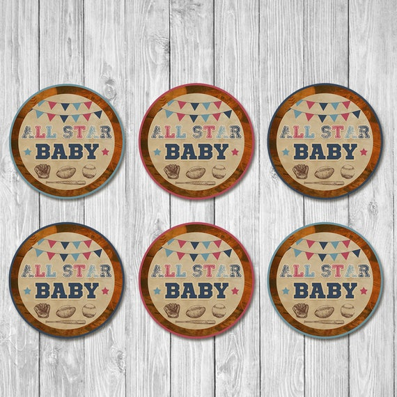 Vintage Sports Baby Shower Cupcake Toppers - Baby Shower Round Favor Tags - Sports Baby Shower - All Star Baby - Baseball Baby Shower Favors