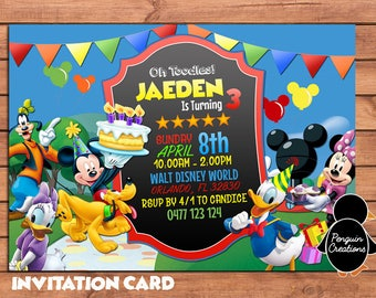 Mickey Mouse Club House Invitation. Mickey Mouse Club House Birthday Party. Party Supplies. Baby Shower.