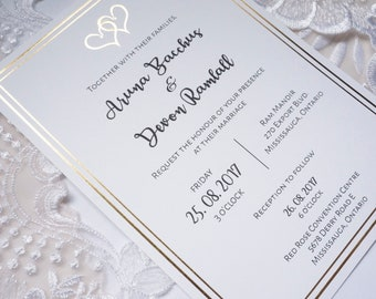 Two Hearts Gold/Silver/Pearl Foil Wedding Invitations + RSVP Cards