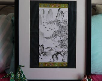 Totoro, trip to China 2 in the mountains, original watercolor print