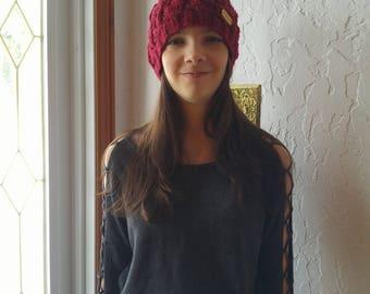 Hat adult color claret, handknitted, wool or fur Pompom
