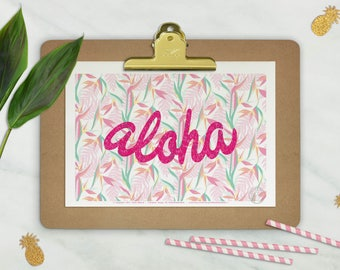 Affiche ALOHA - Poster tropical - affiche deco, Affiche typo, Poster Hawai, impression d'Art, Illustration, Art mural, illustration tendance