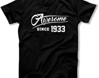 85th Birthday Gift Ideas For Him Presents For Her 85th Birthday T Shirt Bday Gift Awesome Since 1933 Birthday TShirt Mens Ladies Tee DAT1119
