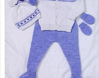 "Baby Jacket Leggings Hat & Mitts DK Knitting Pattern (16 - 22"") BHKC 30, newborn pattern, cardigan pattern, baby hat and gloves pattern"