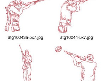 Skeet-Shooting-Redwork 5x7 ( 16 Machine Embroidery Designs from ATW ) XYZ17G