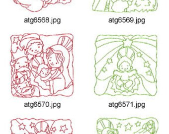 Nativity-Redwork-Quilt-Squares ( 10 Machine Embroidery Designs from ATW )cXYZ17M