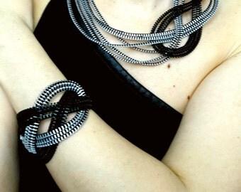 Modern jewelry set Industrial jewelry set Zipper jewelry Bracelet and necklace set Original jewelry set  Industrial jewelry Zipper jewelry