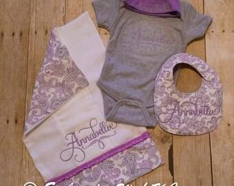 Purple Monogrammed Baby Set - Burp Cloth, Bib, Bodysuit & Hat, Baby Ensemble, Baby Shower Gift, Purple Paisley, Baby Gift, New Mom Gift