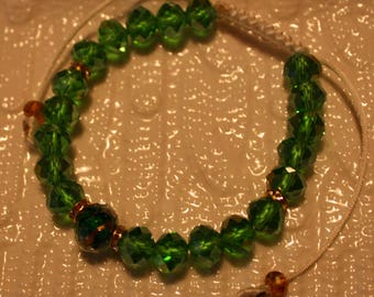 Beautiful Green-Crystal beaded bracelet; handmade, shamballa, cute, casual-wear, party-wear