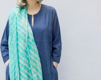Clothing | 100% cotton pintuck tunic (navy blue) | pure cotton blouse