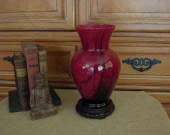 Oriental Style Art Glass Vase with Stand