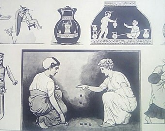 Vintage Educational Print ' Toys and Games Of Ancient Greece ' Mid Century School Print C.1940's/1950's # 27