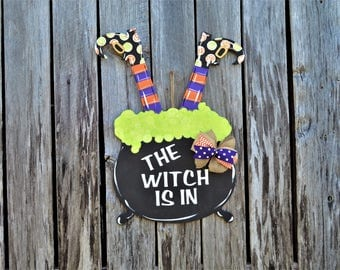 Halloween door decor, Halloween Witch Door hanger, halloween door hanger, witch door hanger, fall wreath, witch legs door hanger