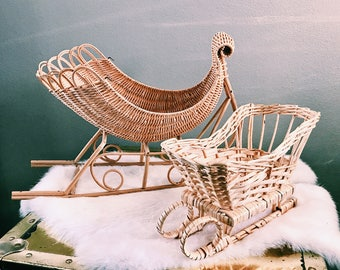 Pair of Vintage Rattan Christmas Sleighs / Boho Holiday Decor / Two (2) Bohemian Snow Sleds