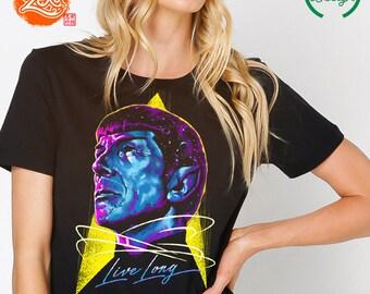 Womens Fit Ringspun: Spock Shirt / Long live and Prosper T-shirt / Star Trek Shirt / Trekkie Tee / Retro Colors / Vulcan T-shirt