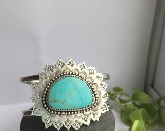 Turquoise // Mandala // Cuff // Sterling Silver