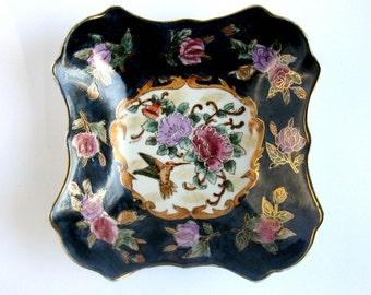 Chinese Famille Rose Porcelain Bowl / Dish / Plate / Birds & Flowers / Handpainted / Enamels / Medallion Design / Gold Trim / Cobalt Blue