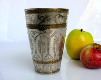 "Mid Century / Brass Lassi Cup / Hand Engraved Lassi Cup / Floral Design / Milk Glass / Vase / 5"" / Tall / North India / Islamic / Metal Arts"