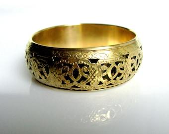 70,s / Filigree Brass Bangle / Brass Bangle / Wide / Brass Bracelet / Boho / Indian / Tribal / Retro / Bohemian / Chunky Bangle / Authentic