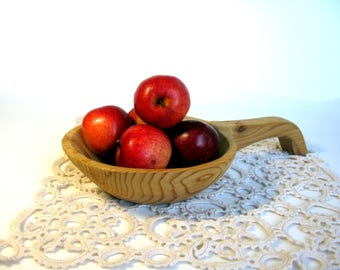Swedish / Large Wooden Bowl / Wooden Ladle / Hand Carved / Handled Bowl / Rustic / Retro Kitchen / Country Decor / Mid Century / Farmhouse
