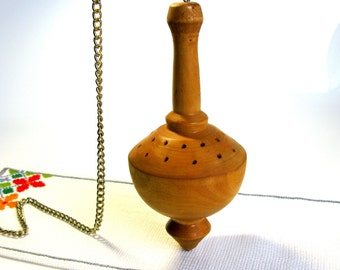 """Spinning Top / Incense Holder / Sweden / Huge / Large 9""""/ Wooden Top / With Chain / Hanging / Wood Ornaments / Hand Made / Rustic / Bohemian"""