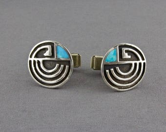 Vintage Handmade Navajo Turquoise And Silver Overlay Cufflinks