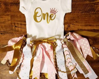 Birthday Outfit - Girls Birthday - Ribbon Skirt - First Birthday - Birthday Girl - girls first birthday - Princess birthday - pink and gold