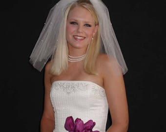 "Pearls Scattered  Flyaway 18"" Wedding Veil with Cut Edge"