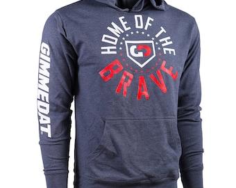 GIMMEDAT Home of the Brave French Terry Hoodie - Lightweight Softball Hoodies, Softball Sweatshirts - Free Shipping!