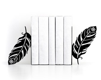 Bookends Feather bookends Boho decor Home decor Book ends Book shelf Book lover gifts Modern decor - black