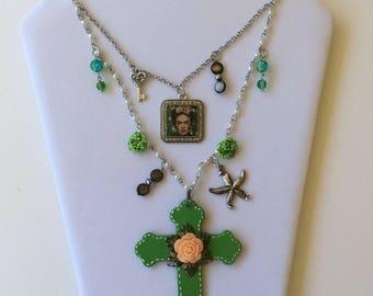 Frida Kahlo Necklace,Frida Kahlo, Frida Kahlo Jewelry,Boho Necklace,Day Of the Dead,Dia de los Muertos,Unique Jewelry,Mexican Folk