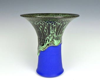 Deep Blue and Green Porcelain Oil Spot Vase with Flared Rim