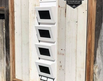 Rustic 4 Slot Mail Organizer with key holder chalkboard wall organizer