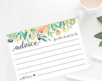 Advice for Bride Cards | Watercolor Floral Rustic Bridal Shower Advice Cards | 4x6 and 5x7 | Bohemian Printable or Printed | F1BS