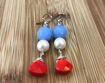 Patriotic Red White and Blue Earrings