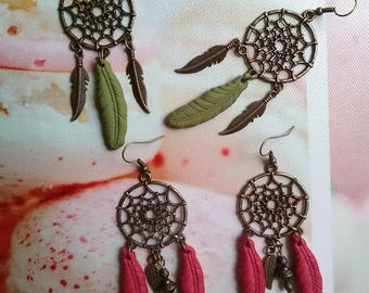 Lot 2 pairs of earrings dream catcher with feathers in fimo / gift idea